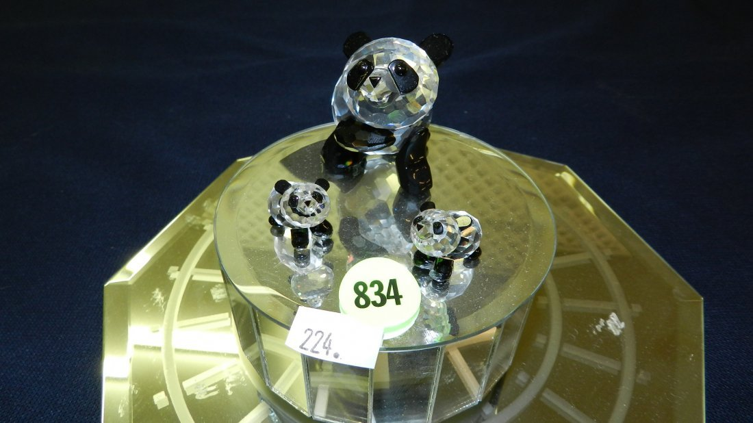 834: great stamped Swarovski crystal family of panda be