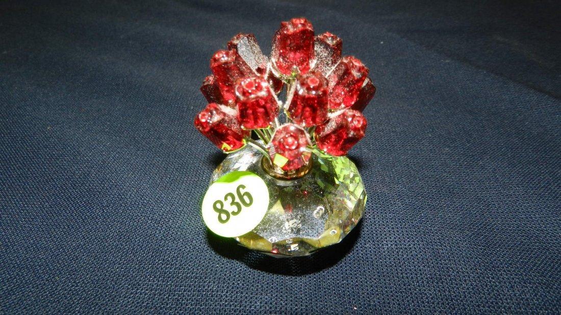 836: great stamped Swarovski crystal flowers figurine
