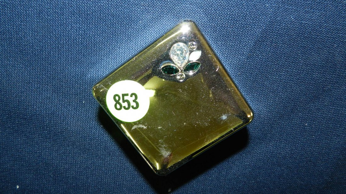 853: great stamped Swarovski pill box