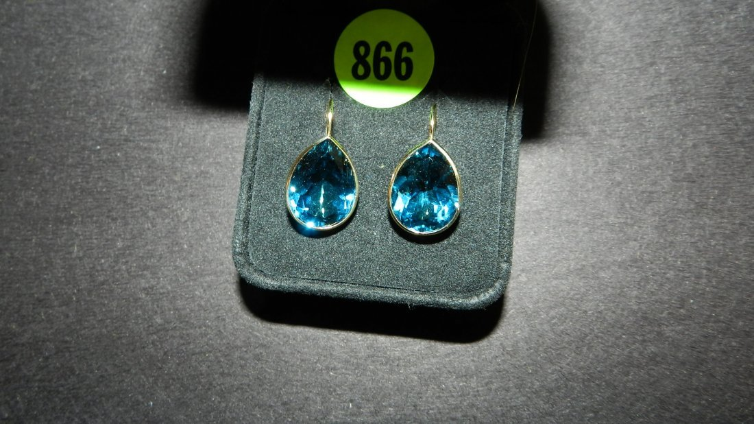 866: lovely ladies 14KT gold (stamped) earrings with la