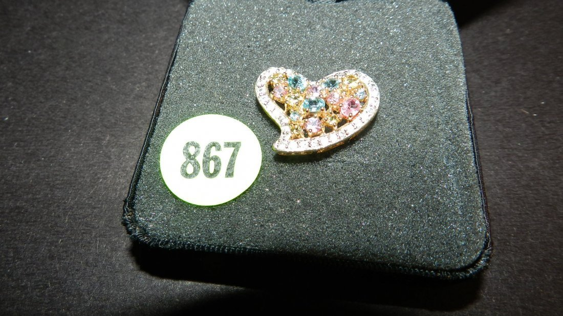 867: lovely ladies 14KT gold (stamped) multi colored st