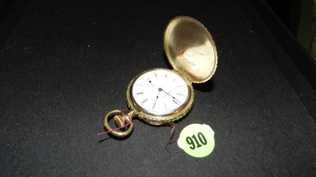 910: fancy antique 14KT gold (stamped) hunter's case po