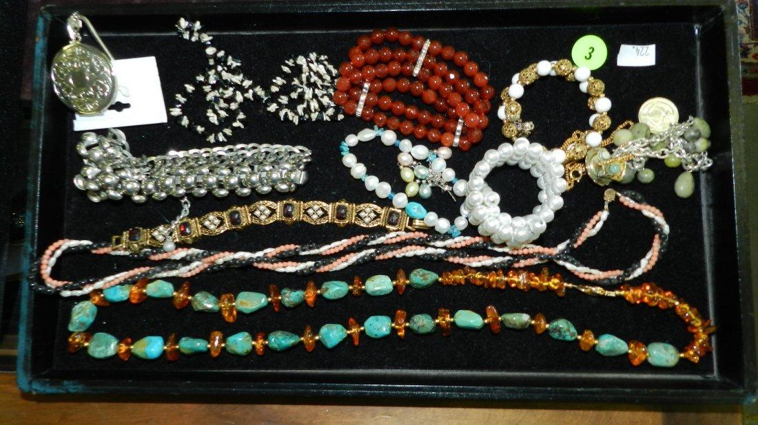 3: tray of fancy estate jewelry (most unworn) no tray