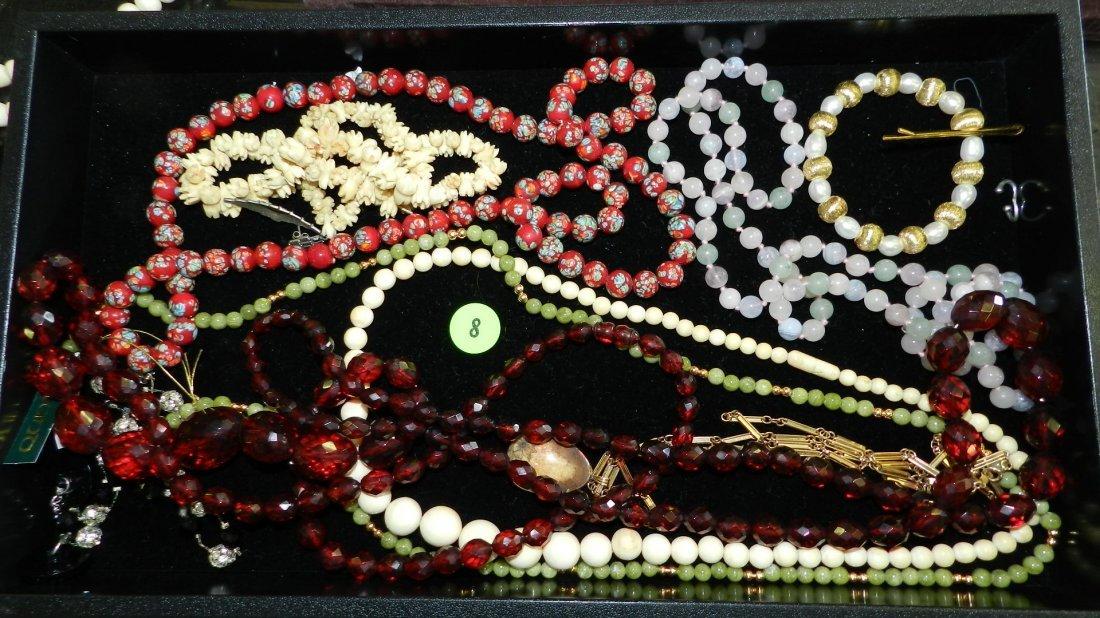 8: tray of fancy estate jewelry (most unworn) no tray
