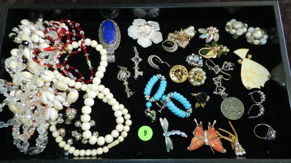9: tray of fancy estate jewelry (most unworn) no tray