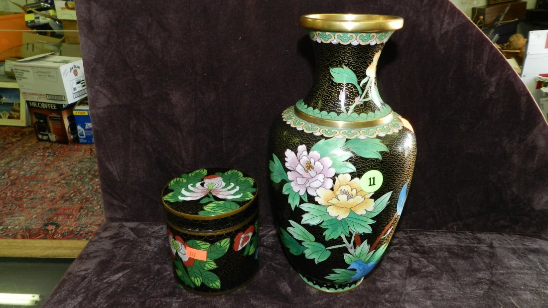 11: 2 piece Asian (Chinese Cloisonne) vase & box finely