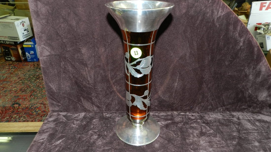 13: large sterling? overlay amber glass vase