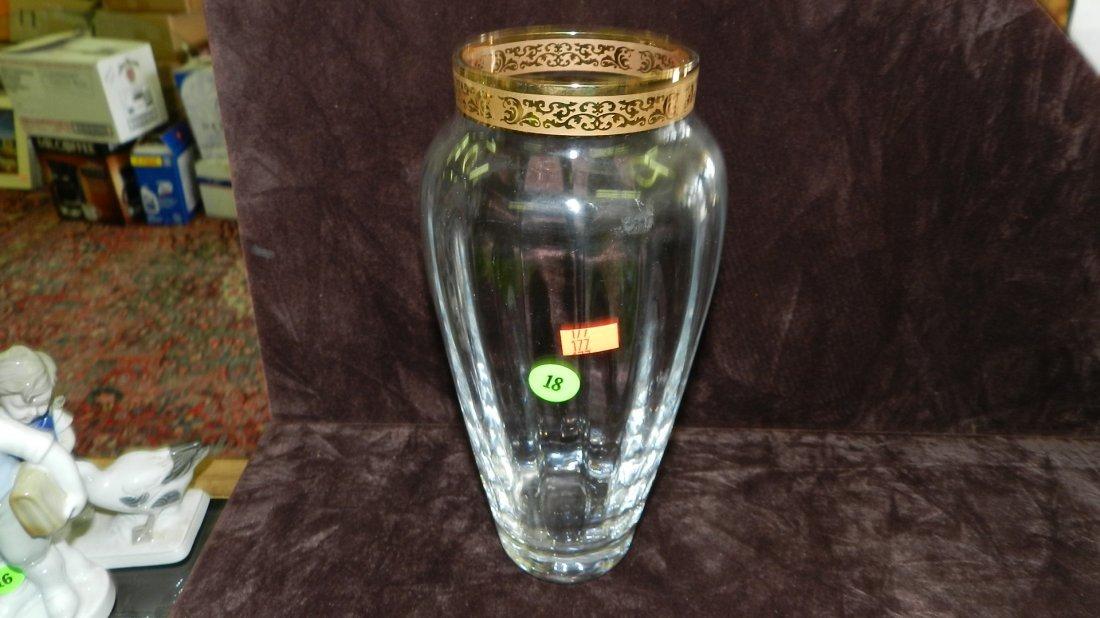 18: crystal etched vase