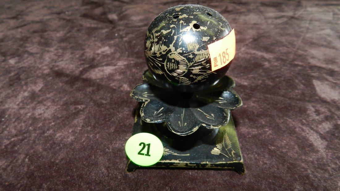 21: vintage (metal) painted hat pin holder, as seen