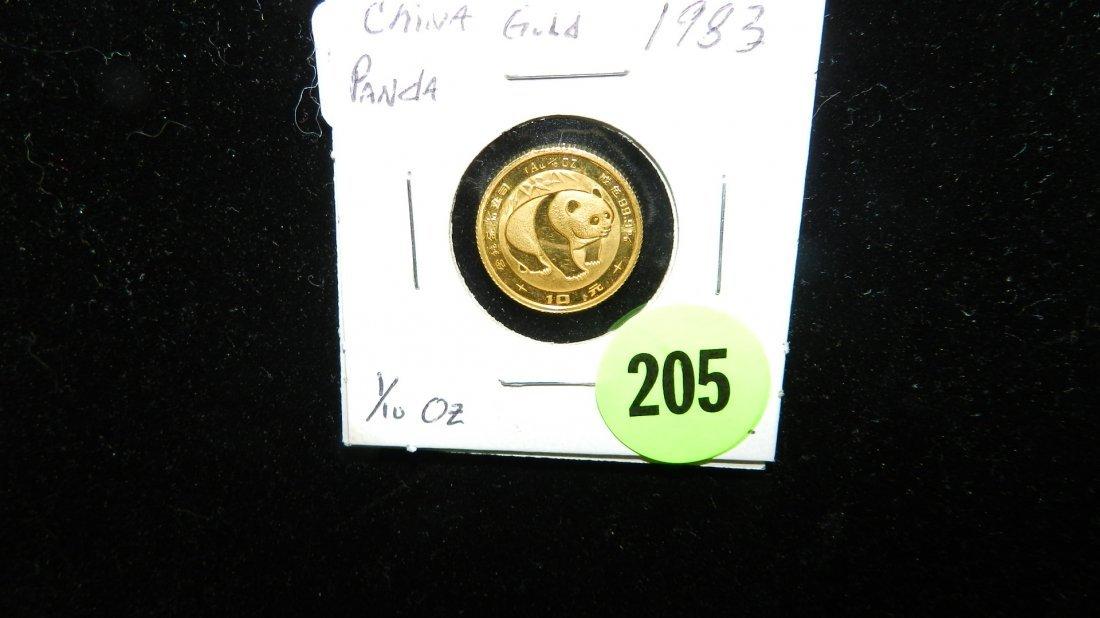205: 1/10 Panda China gold coin
