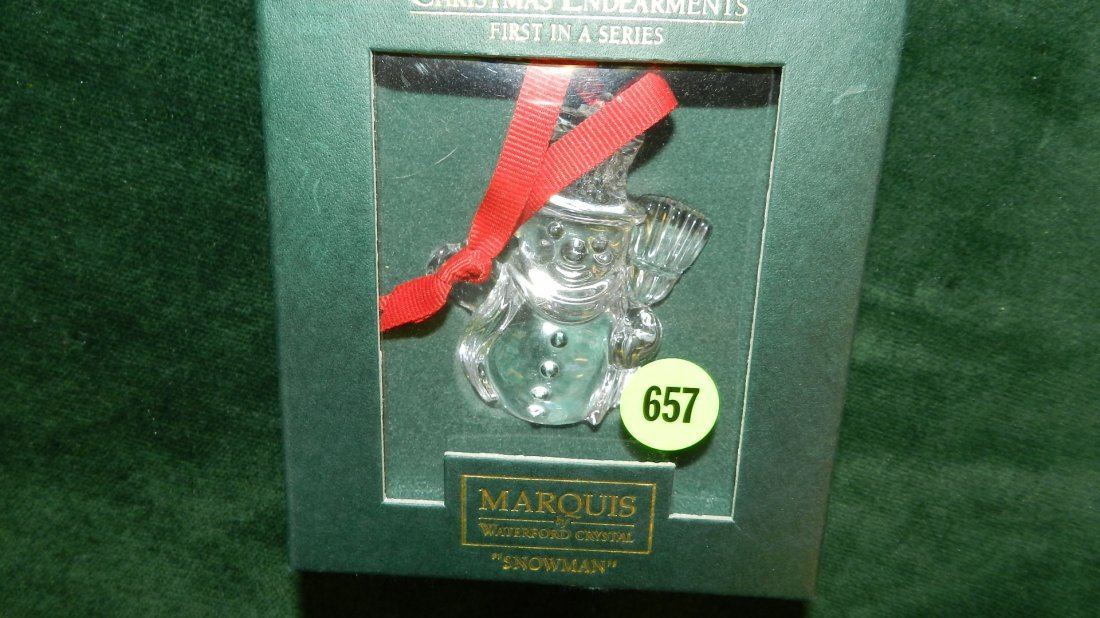 657: nice Waterford Christmas ornament in box