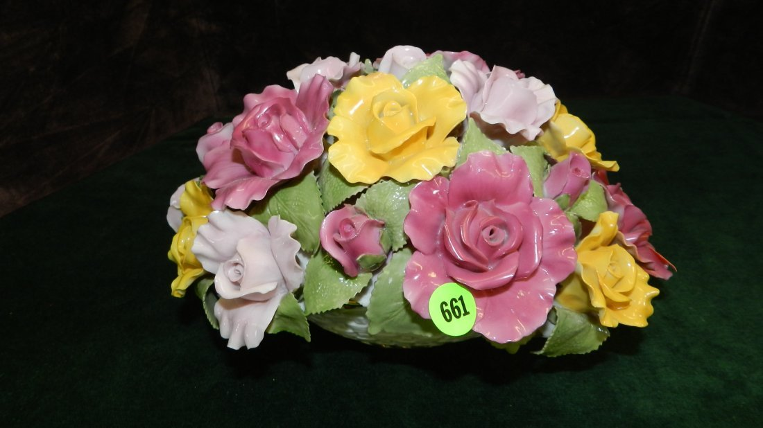 661: large Royal Albert porcelain flower basket
