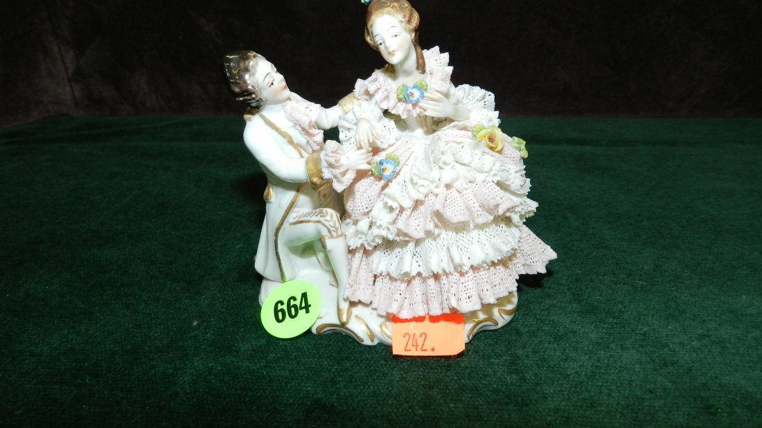 664: great vintage porcelain lace Dresden figure, very