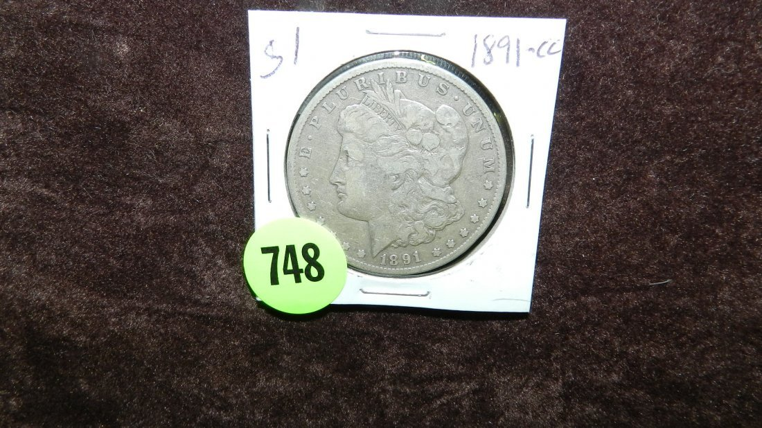 748: US Morgan silver dollar, 1891-CC Carson City