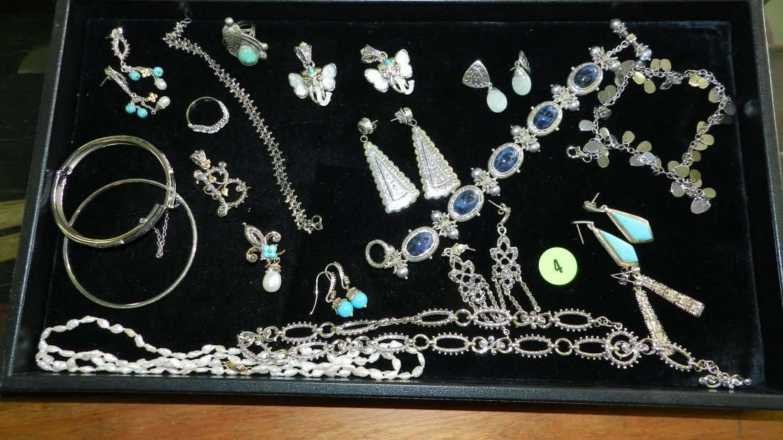 4: nice tray of estate jewelry most sterling (no tray)