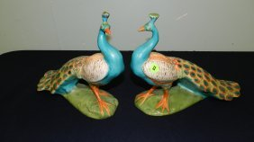 2 Piece Porcelain Painted Peacock Figurines