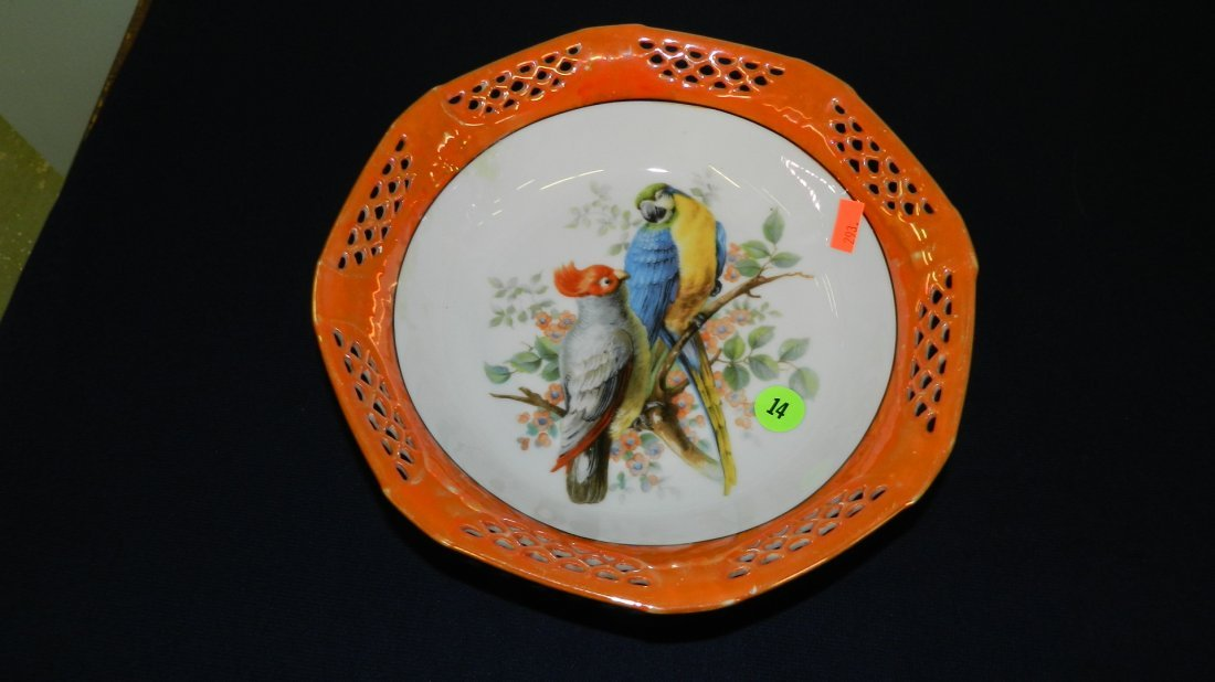 14: porcelain painted lusterware bowl with parrots