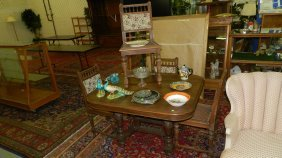 19: English oak table and chairs dining set  SSR