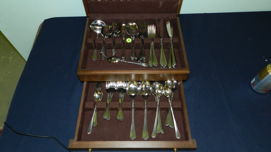 22: orleans silver stainless japan flatware in case