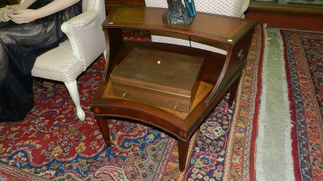 23: leather top mahogany lamp table  SSR
