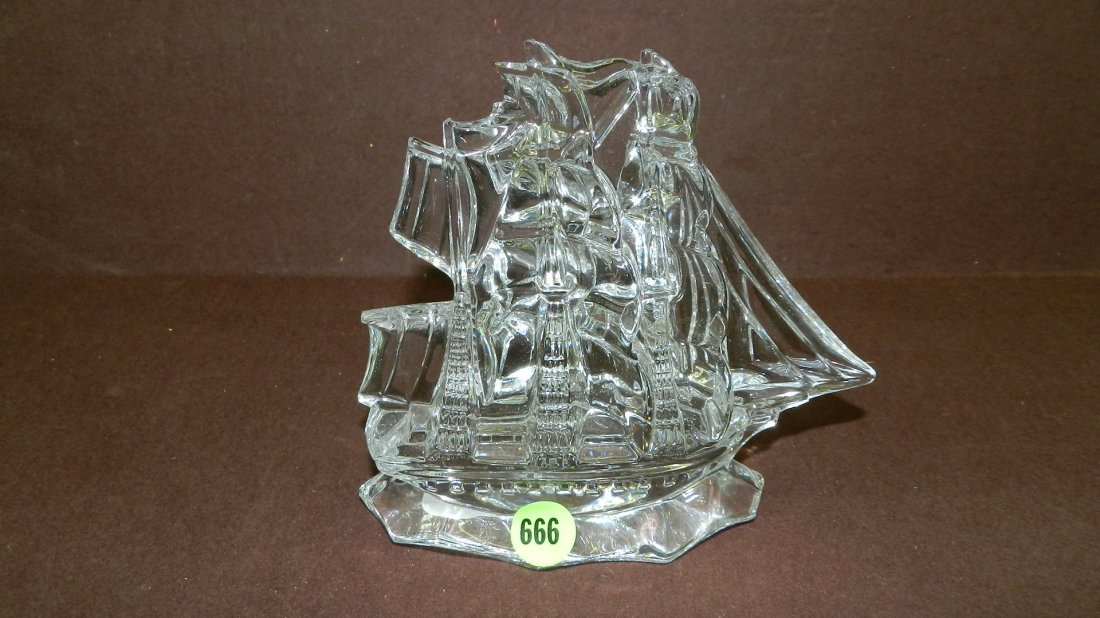 666: marked Waterford crystal ship paperweight