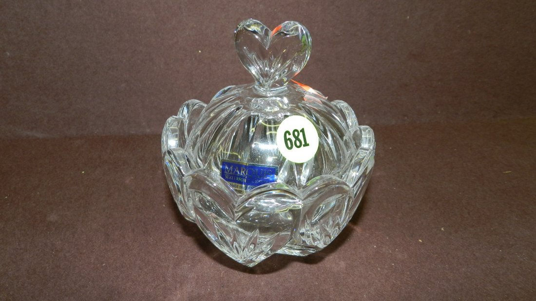 681: marked Waterford crystal covered jar