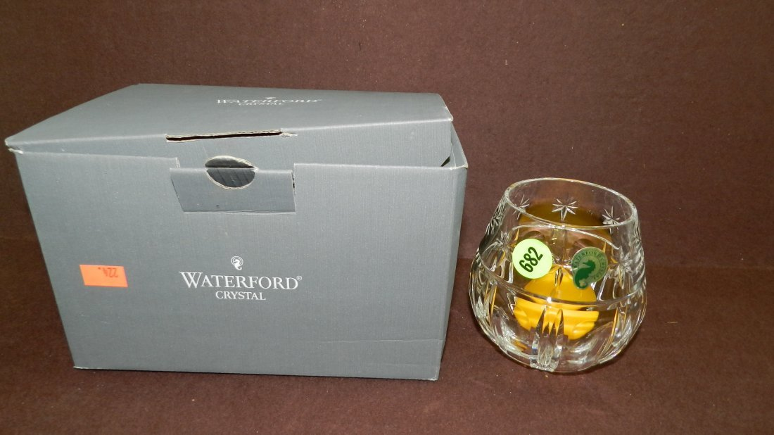 682: marked Waterford crystal candle dish in box