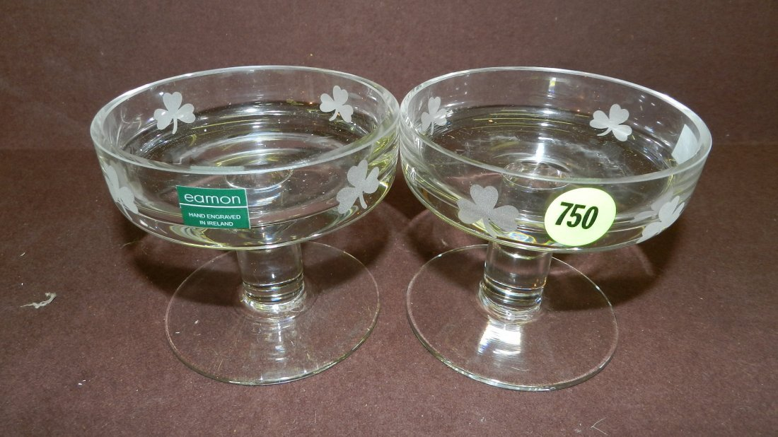 750: 2 piece crystal signed dish