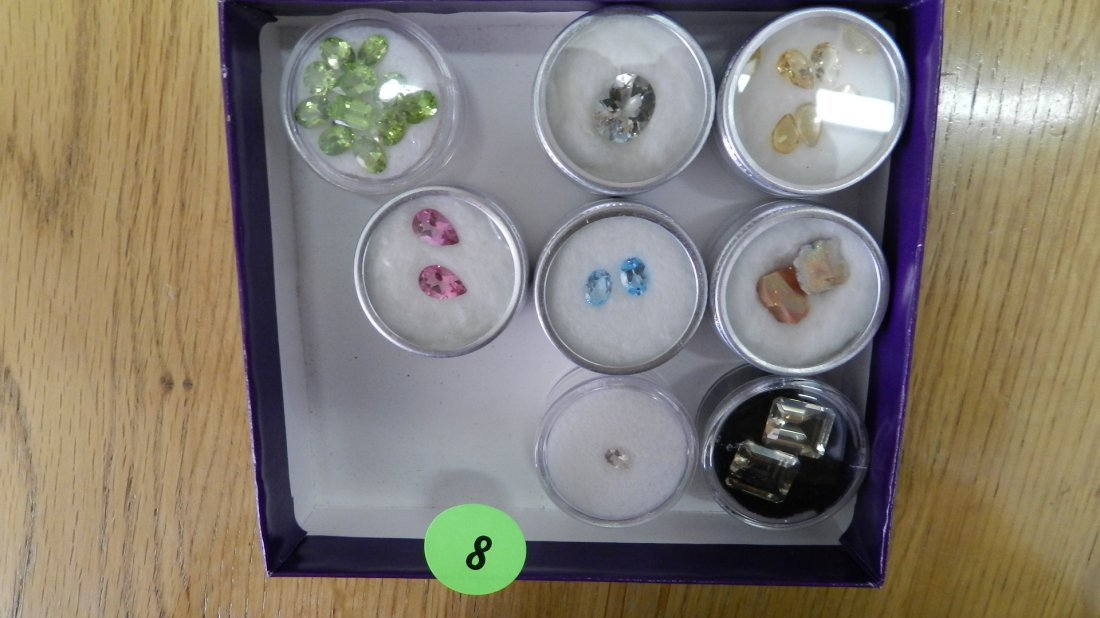 8: collection of semi precious stones, in small holders