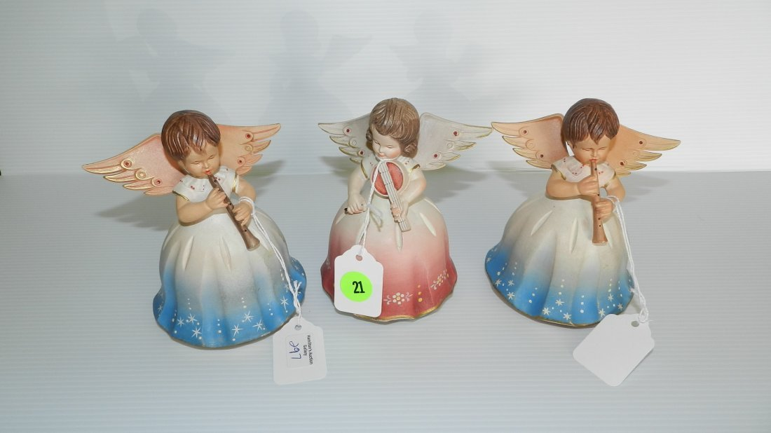 21: 3 piece wood painted musical angels