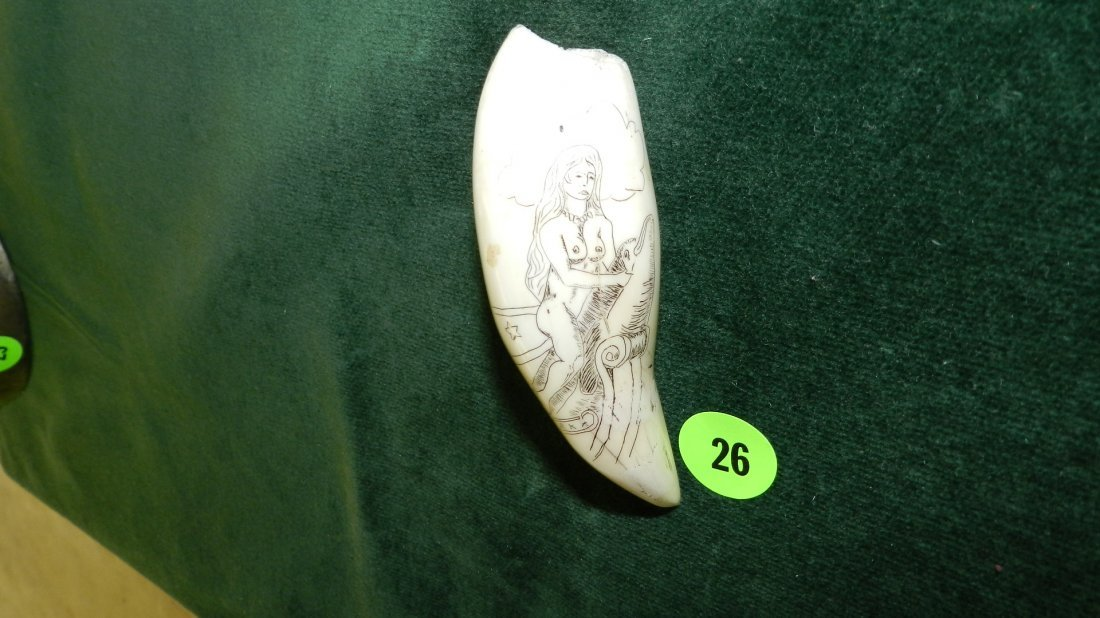 26: carved (scrimshaw) whales tooth with nude lady on d