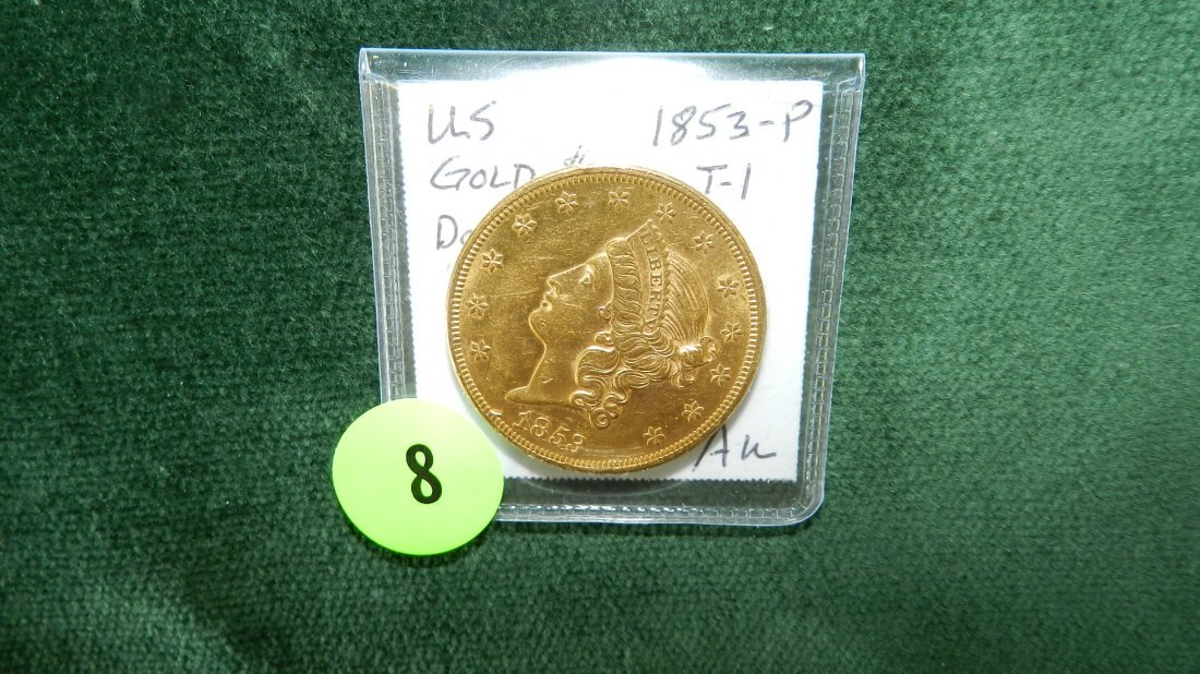 8: nice US Gold Double Eagle (early date) 1853-P AU coi
