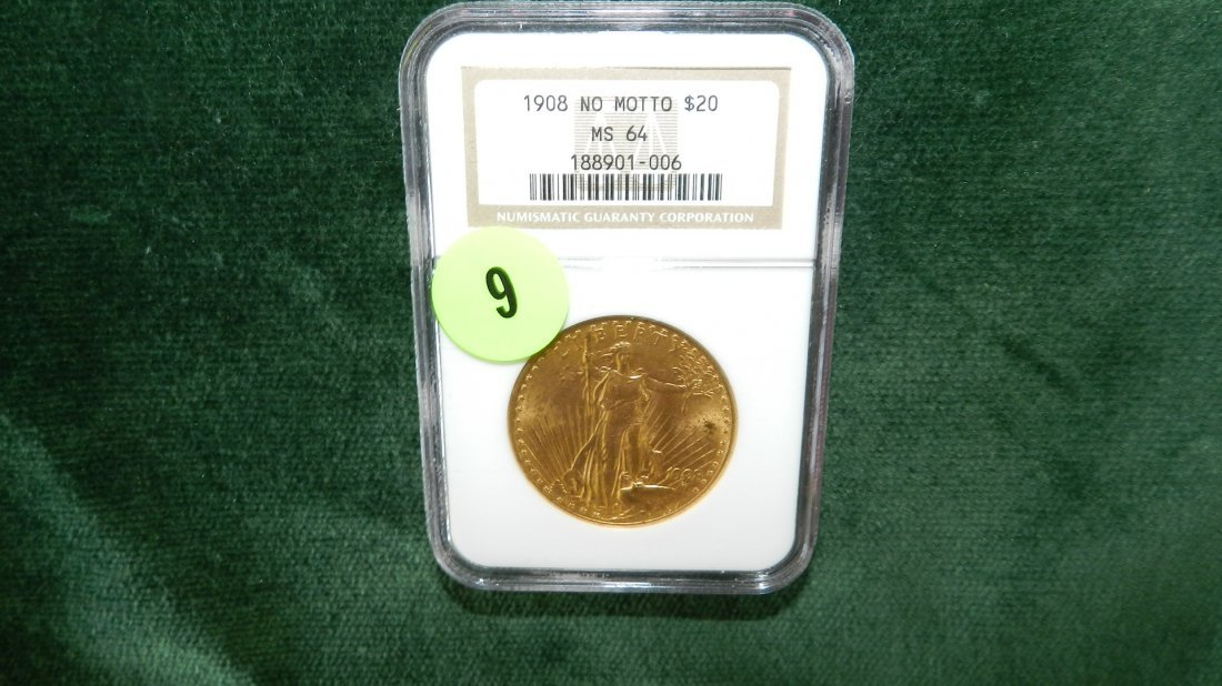 9: nice US Gold Double Eagle St. Gaudens 1908-P MS-64 (