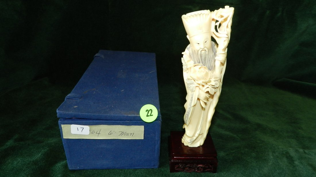 22: choice vintage Chinese carved Ivory figurine of sta