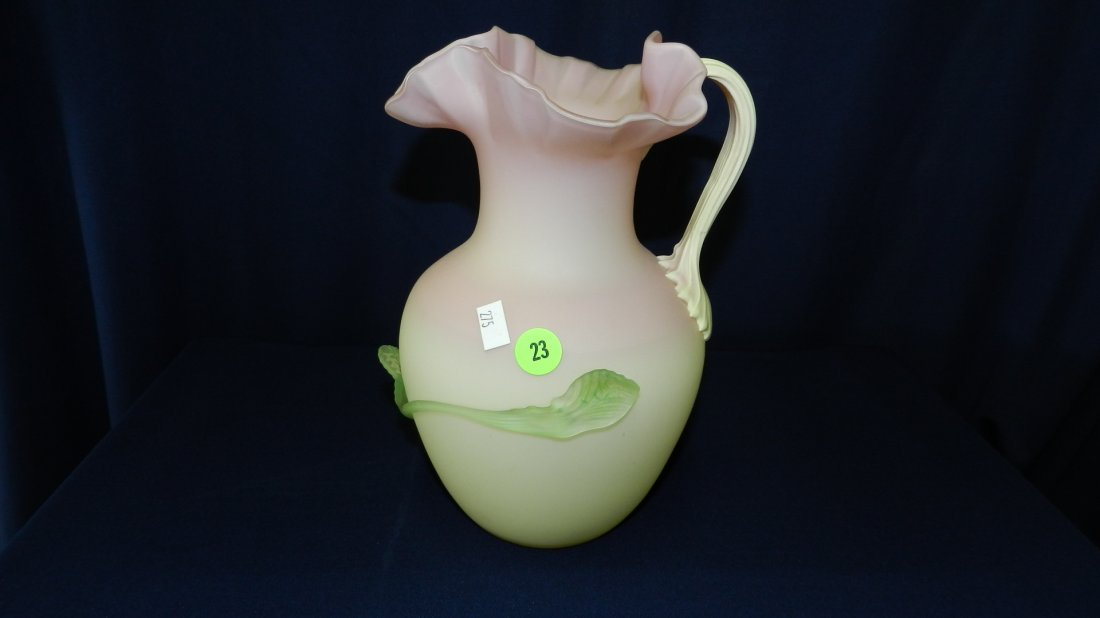 23: wonderful blown glass with applied handle & design