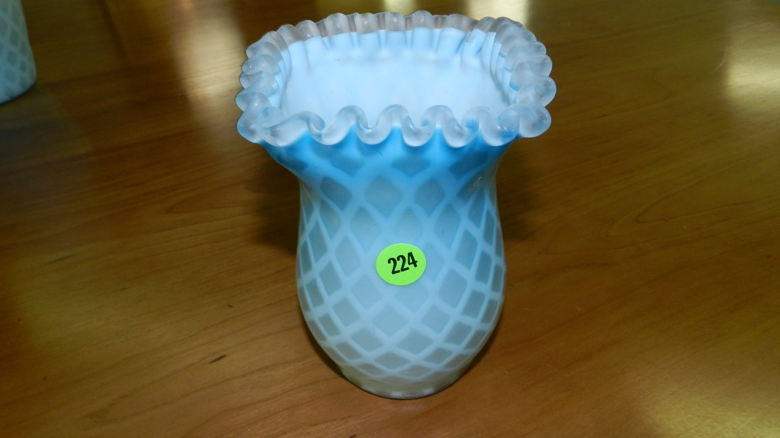 224: wonderful blown glass Fenton? WEBB? vase & quilt /