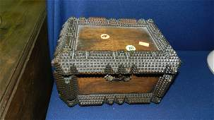 247 antique handmade Tramp Art carved box authentic