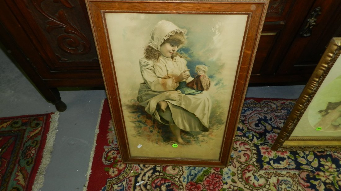 446: antique framed childs litho, girl with doll, as se