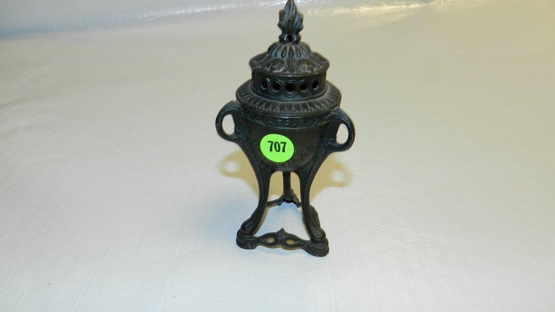 707: antique cast iron incense burner