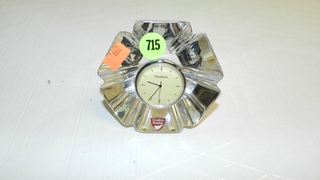 715: signed Orrefors crystal clock