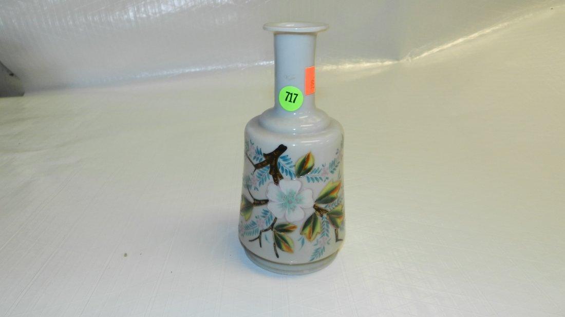 717: blown glass vase hand painted Bristol
