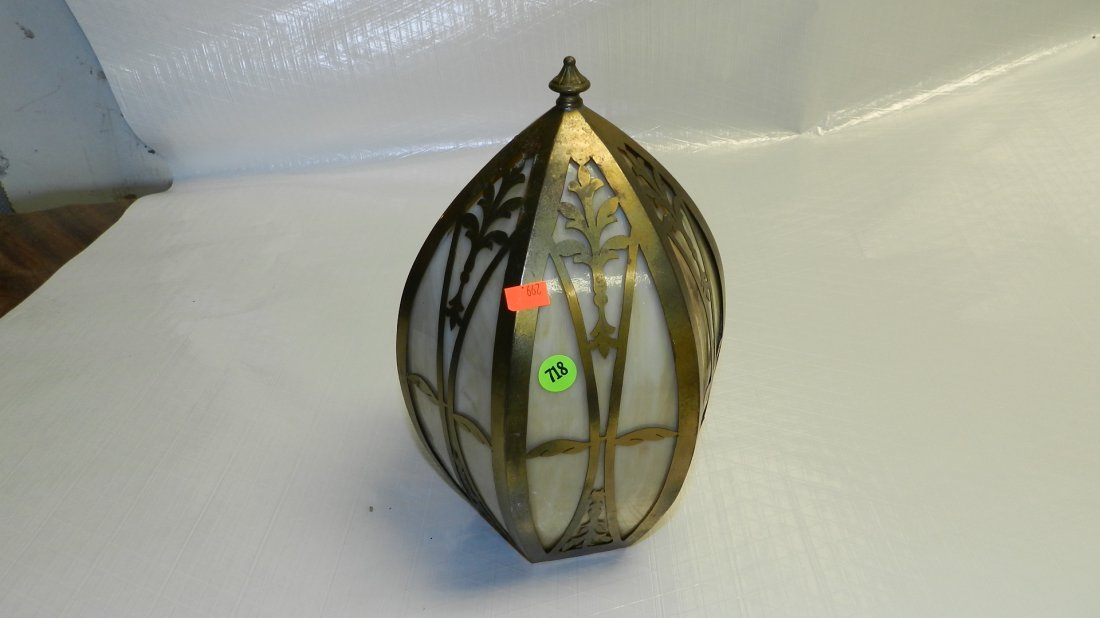 718: Arts & Crafts slag glass shade with metal work