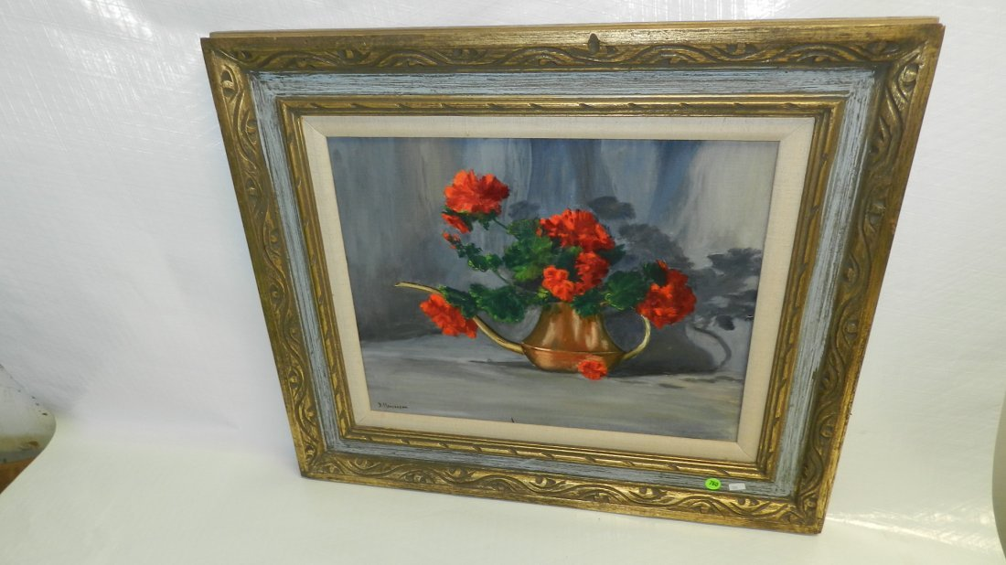 760: framed and signed oil painting of still life