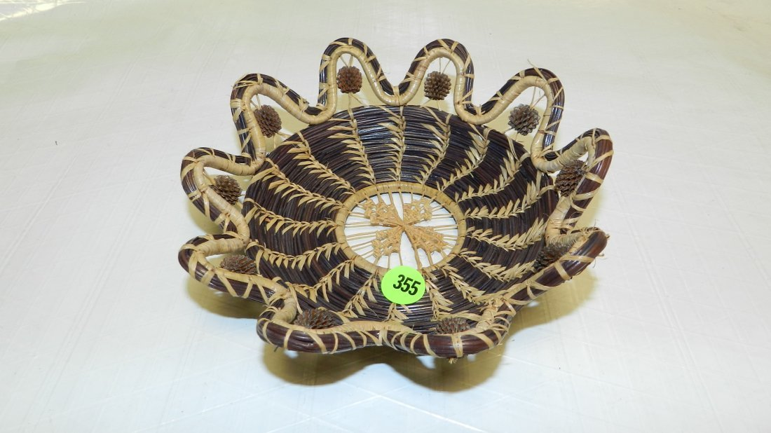 355: nice pine needle Native American bowl