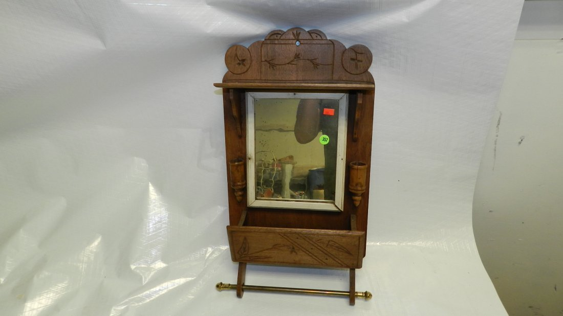 357: Primitive wall shaving mirror with holders