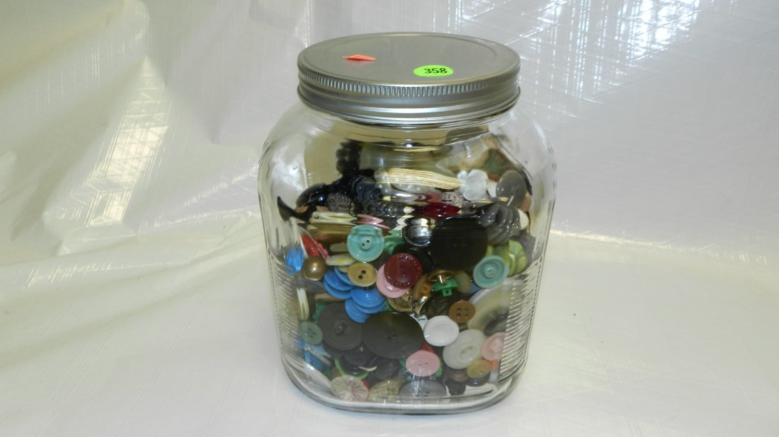 358: vintage coffee jar with buttons