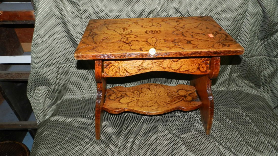 373: hand carved folk art stool