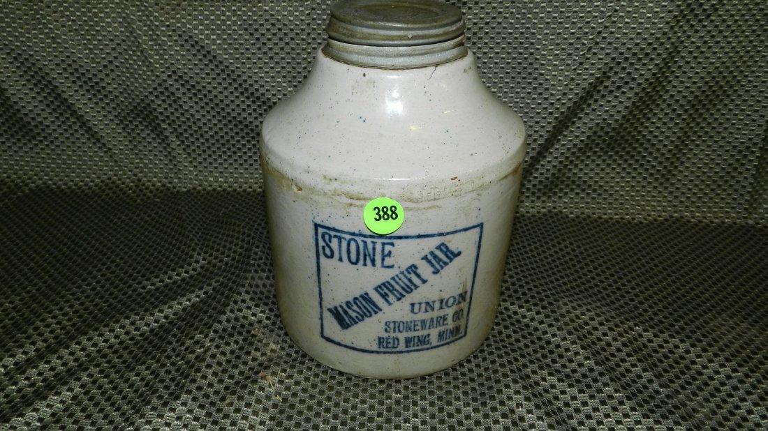 388: nice Old Union Stoneware Co. Mason Fruit Jar, Made