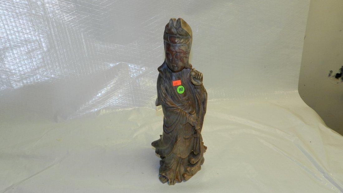 702: tall soapstone? / Jade? carved figure