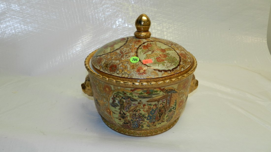 705: Asian porcelain painted covered dish